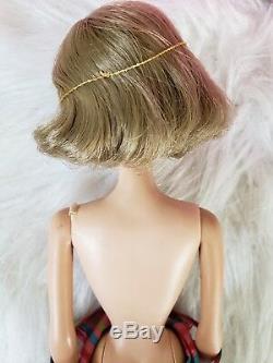 1958 AMERICAN GIRL Barbie doll SIDE PART Brunette MINT IN BOX Original swimsuit