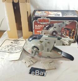 1981 Vintage Star Wars SLAVE ONE 1 BOBA FETT SPACESHIP with BOX ESB COMPLETE