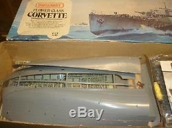 A vintage Matchbox un made plastic kit of WW2 Flower class Corvette, boxed