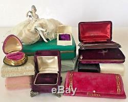 Antique Velvet Jewelry Presentation Box Lot 12 Push Button Ring Display VTG Pink