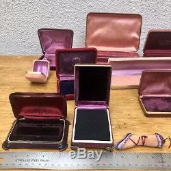 Antique Velvet Jewelry Presentation Box Lot Ring Display VTG Empty Purple Deco
