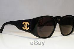 CHANEL Womens Boxed Vintage 1990 Sunglasses Black Square GOLD CC 0003 10 24041