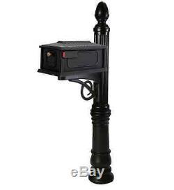 Elegant Gibraltar Victoria Large Black Mailbox Mail-Box Post/Pole Combination