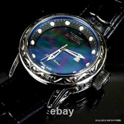 Invicta Excalibur Vintage Swiss Made Black MOP 52mm Leather Limited Ed Watch New