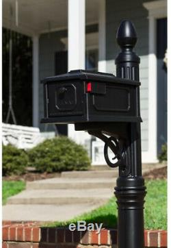 Large Secure Black Mailbox All In One Decorative Plastic Mail Box with Post