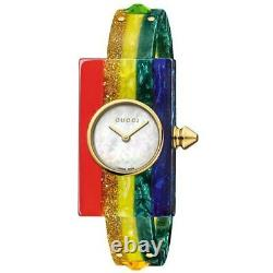 New Gucci Vintage Web Plexiglas Rainbow Studded Bangle Women's Watch YA143520