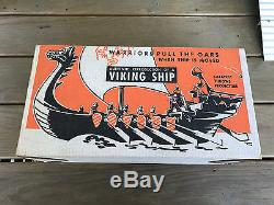 Old Vtg #245 Hard Plastic Renwal Viking Ship Playset WithAccessories Original Box