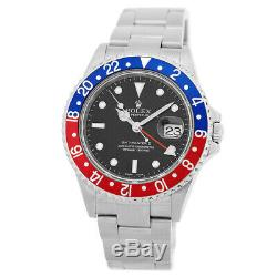 ROLEX Stainless Steel GMT Master II Pepsi Bezel 40mm 16710 Box Hang Tag MINTY