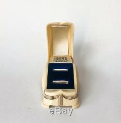 Rare Ring Box Wedding Set Celluloid Jewelry Velvet Display Art Deco Antique Vtg