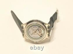 Rare Vintage Swatch Automatic Watch With Dark Green Genuine Leather Strap
