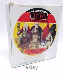 SEARS 3 PACK Baggie Vintage Star Wars Figures & Box with Acylic Display Case 1983