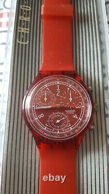 Swatch Le Rouge SCR101 1996 Chrono 37mm Plastic NOS box Vintage
