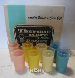 Thermo Serv Plastron set 8 glitter tumblers Original box Glamalite vintage mcm