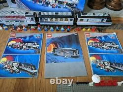 Two Lego Metroliners with Club Cars & controller 4558, 4547, 10001, 10002, & 4548