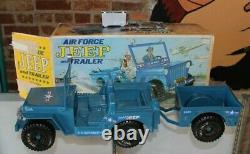 VINTAGE 1973 EMPIRE U. S. AIR FORCE BLUE JEEP & TRAILER FOR 12 GI JOE w BOX
