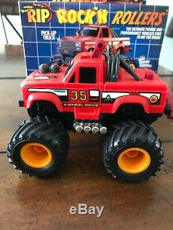 VINTAGE 1988 Tomy Rip Rock n Rollers Red 4x4 Pick-Up Truck Rockn 2574 With Box 35