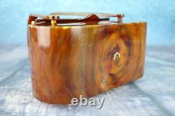 Vintage 1950s Early Plastic Wood-grain Box Bag Hand Painted Floral Lid