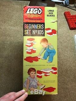 Vintage 1960s 60s LEGO Samsonite Jumbo Brick Beginners Set 105 Rare Pre-DUPLO