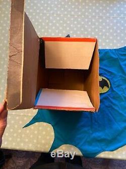 Vintage 1966 Ideal Batman Plastic Helmet Cowl & Cape Costume Mask In Box