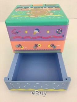 Vintage 90s Sanrio Jewelry Trinkets Box Tweedle Dee Dee Bear Spring Open Drawer