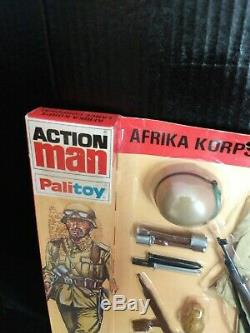 Vintage Action Man German Afrika Korps locker box card. Original 1977. Sealed