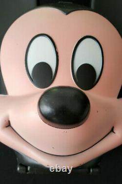 Vintage Aladdin Walt Disney Mickey Mouse Head Plastic Lunch Box-Original Thermos