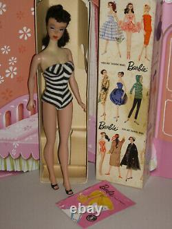 Vintage Barbie #3-#4 Brunette Ponytail withGay Parisienne BOX, LINER, Pink Booklet