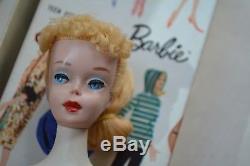 Vintage Barbie 3 BLONDE Ponytail Doll in ORIGINAL BOX TRANSITIONAL 3/4 MATTEL