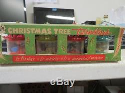 Vintage Christmas BIRDCAGE TWINKLER SPINNER ORNAMENT SET ORIGINAL BOX 1950's