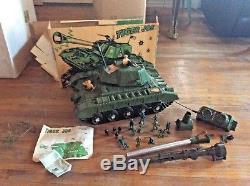 Vintage DELUXE TIGER JOE army TANK & BOX REMOTE CONTROL MOTORIZED toy car