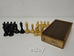 Vintage DRUEKE #36 H Extra Heavy Chessmen'' set with ORIGINAL BOX