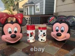 Vintage Disney Mickey & Minnie Lunch Box Kits With Thermoses