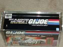 Vintage GI JOE 1986 AFA 75 SGT. SLAUGHTER withTriple T HASBRO series 5 MISB BOXED