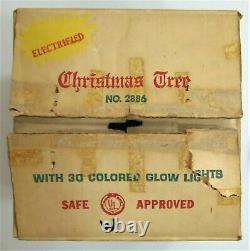 Vintage Hard Plastic Peg Light Table Top Christmas Tree Blow Mold Original Box