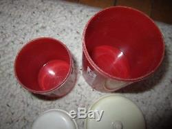 Vintage Ideal Red/White Plastic Toy Bread Box, 2 Canisters & 8 Spices WithHolders