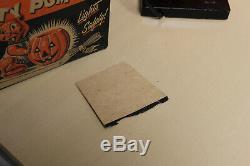 Vintage Light Up Halloween Decoration-Hard Plastic Miller Kitty Pumpkin withBox