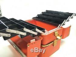 Vintage MASSIVE UMCO #482 Orange Medical Emergency Kit or Tackle Box Made In USA