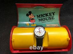 Vintage MICKEY MOUSE Bradley Time Wrist Watch with Plastic Case Box 1970's