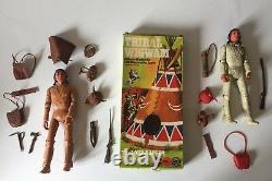 Vintage Marx Cherokee Indian Action Figures + Accessories + Tribal Wigwam Boxed