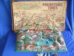 Vintage Marx Playset Prehistoric Times Animals Dinosaurs Cavemen Box Toy Monster