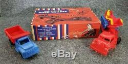 Vintage PROCESSED PLASTICS TOY SET IN ORIGINAL BOX #1220 ROAD BUILDER 4 PC SET