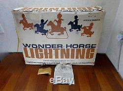 Vintage Plastic Wonder Horse Lightning CHEYENNE Rocking Spring Toy OG BOX PAPER