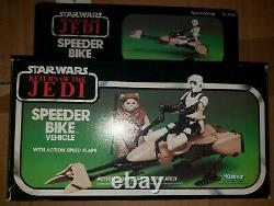 Vintage Star Wars Speeder Bike & Biker Scout Figure Kenner 1983 with Box ROTJ