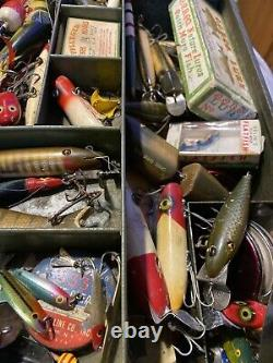 Vintage Tackle Box Full with Lures & Fishing Gear Loaded Heddon