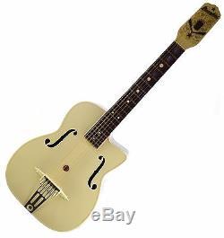 Vtg 1950s Maccaferri G30 Decorated Archtop Plastic Guitar w Orig Box + Goodies